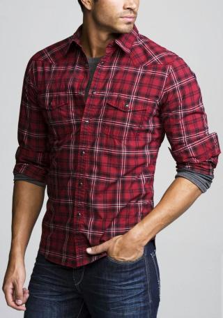 Estilo+Leñador-+Camisa+Hombres+a+Cuadros+Estilo+Western+Cowboy