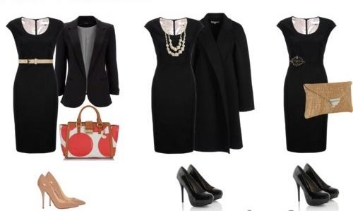 Vestido negro con accesorios
