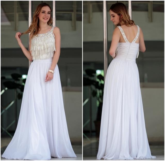 Vestido blanco con flecos elegante 3