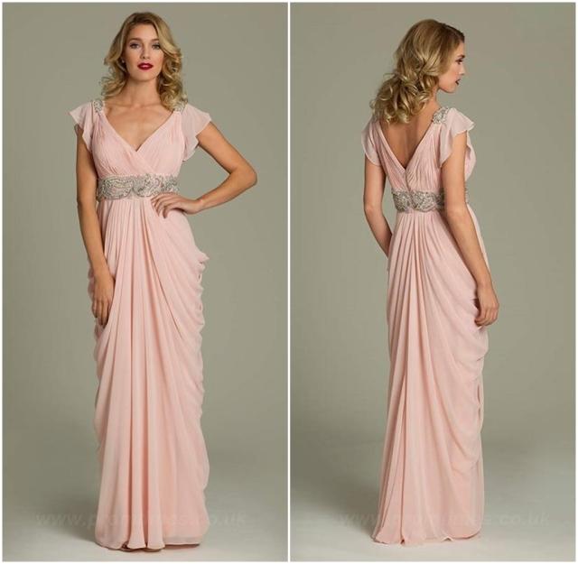 Vestido rosa de raso Elegante 1