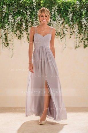 Vestido gris largo para invitada 1