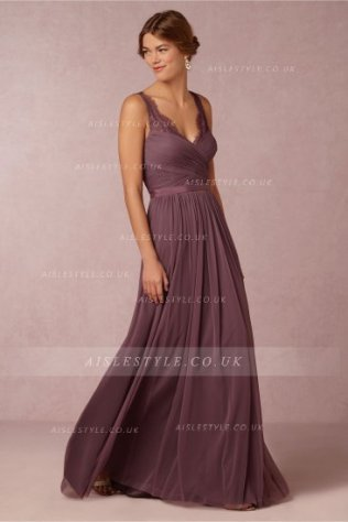 Vestido para dama de honor morado 1