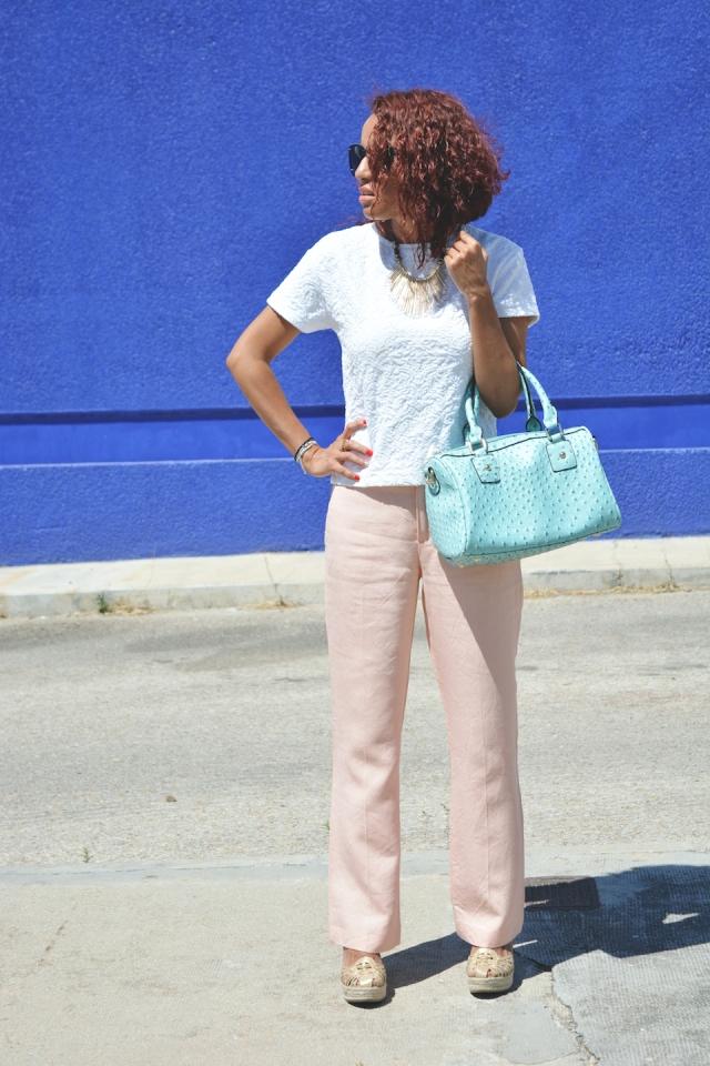 Pantalón rosa cuarzo y turquesa 4