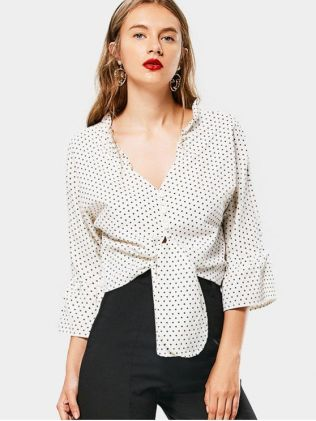 Plunge BlousePlunging Neck Ruffled Polka Dot Blouse