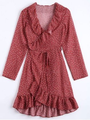 Ruffled DressStar Print Ruffle Hem Wrap Dress