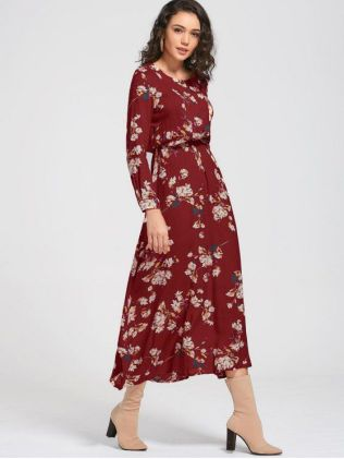 A Line DressLong Sleeve Buttons Tiny Floral Maxi Dress
