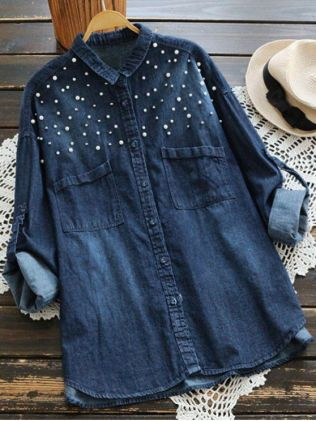 Jean ShirtBeaded Embellished Pockets Denim Shirt