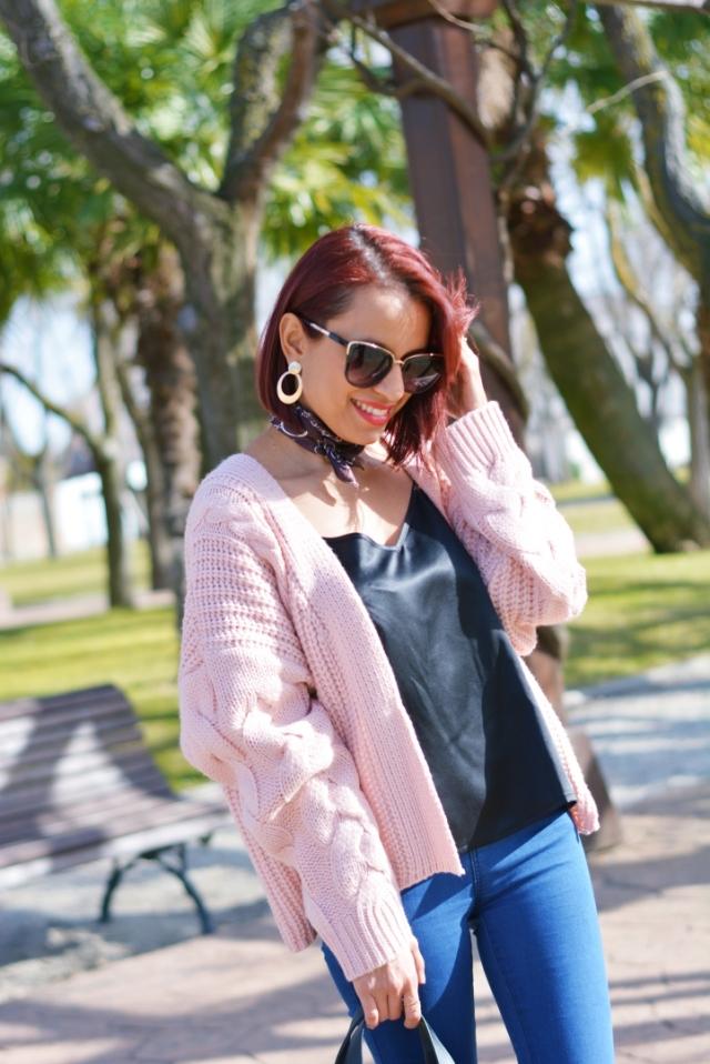 Chaqueta de punto rosa