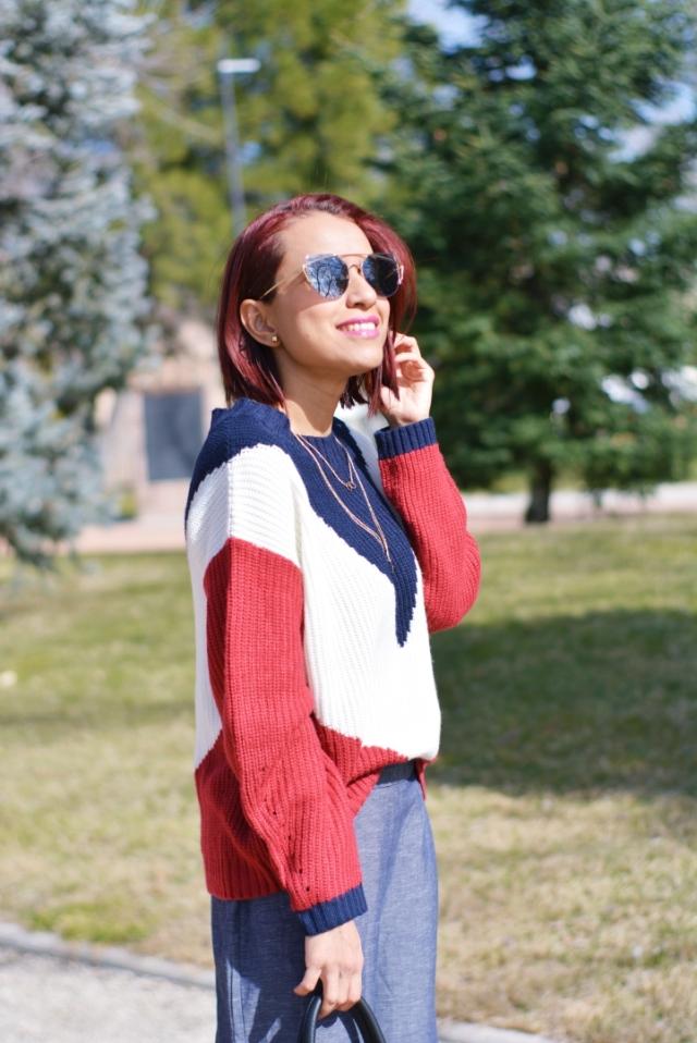 Look de invierno con jersey tricolor